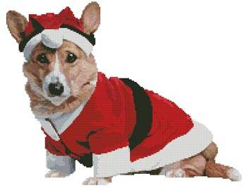 cross stitch pattern Christmas Pup