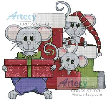 cross stitch pattern Christmas Mice