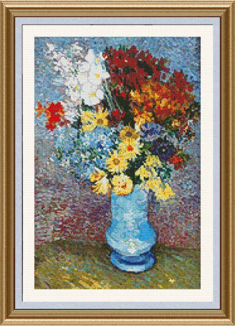 cross stitch pattern Flowers in a Blue Vase