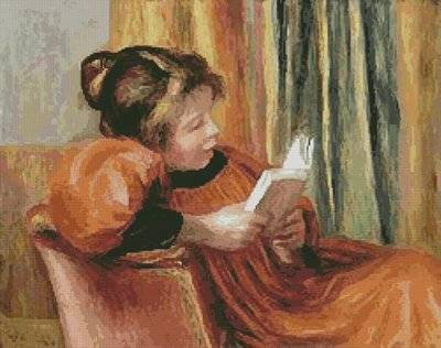 cross stitch pattern A Girl Reading