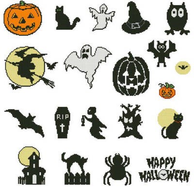 cross stitch pattern Small Halloween motifs