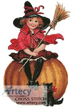 cross stitch pattern Halloween Witch