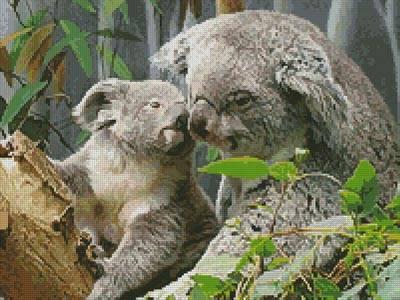 cross stitch pattern Mum and Baby Koala