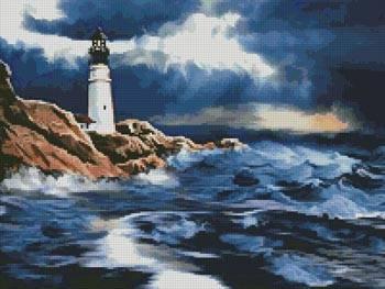cross stitch pattern Lighthouse in a Storm