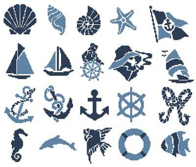 cross stitch pattern Nautical Motifs