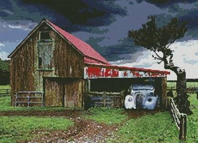 cross stitch pattern Old Barn in Storm