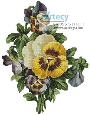 cross stitch pattern Pansies 2