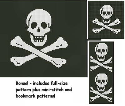 cross stitch pattern Pirate Flag