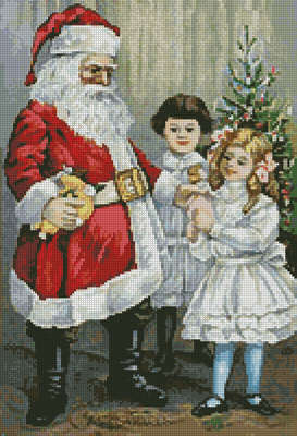 cross stitch pattern Santa with Victorian Girls
