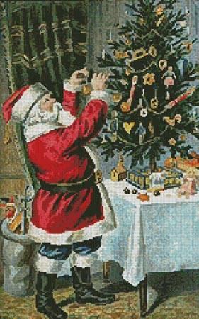 cross stitch pattern Santa Decorating Tree