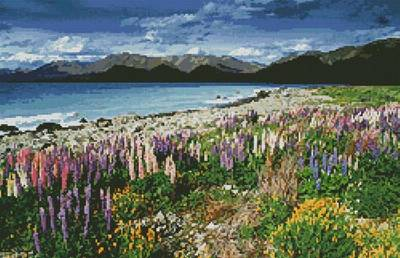 cross stitch pattern Lake Tekapo New Zealand
