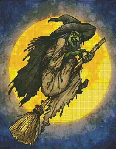 cross stitch pattern Witch on a broom