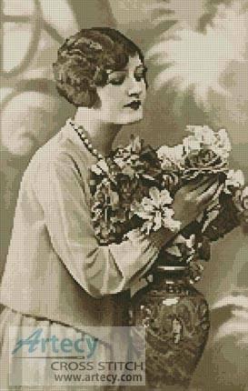 cross stitch pattern 1920's Lady