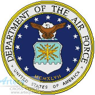 cross stitch pattern Air Force Seal
