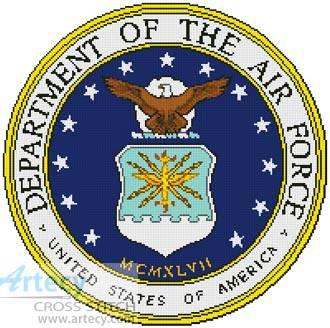cross stitch pattern Air Force Seal