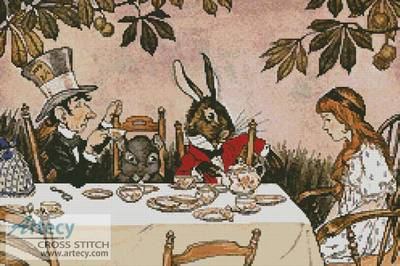 cross stitch pattern Alice in Wonderland