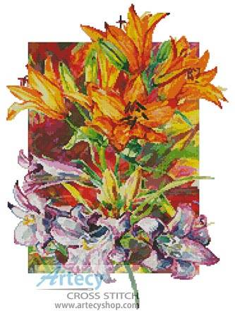 cross stitch pattern Amarylis  Daylilies