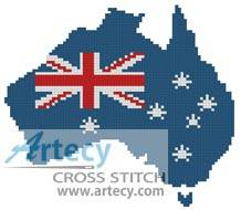 cross stitch pattern Australian Map