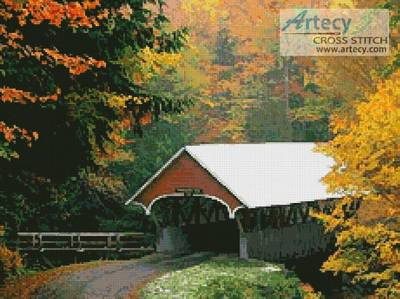 cross stitch pattern Autumn Covered Bridge