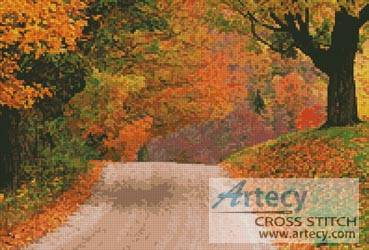 cross stitch pattern Autumn Road