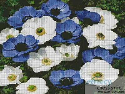 cross stitch pattern Blue and White Flowers