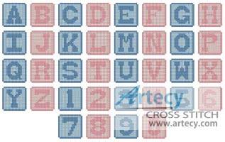 cross stitch pattern Baby Blocks Alphabet