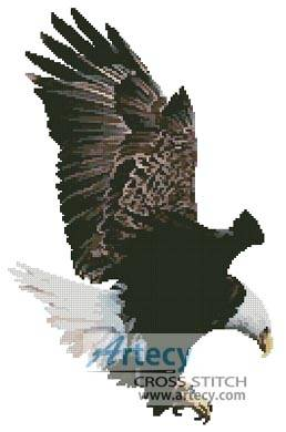 cross stitch pattern Bald Eagle Flying