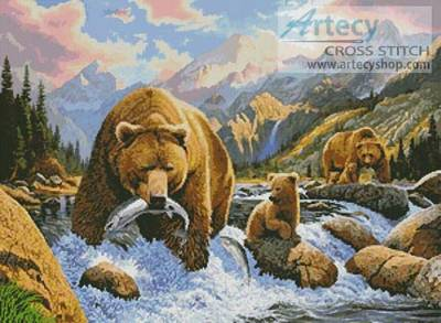 cross stitch pattern Bear and Cubs