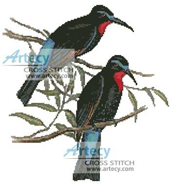 cross stitch pattern Bee Eaters