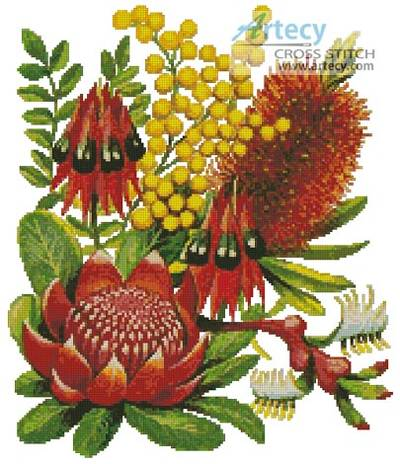 cross stitch pattern Bushland Flowers of Oz