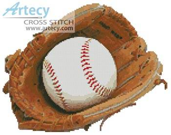 cross stitch pattern Baseball Glove and Ball