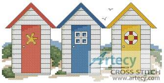 cross stitch pattern Beach Huts