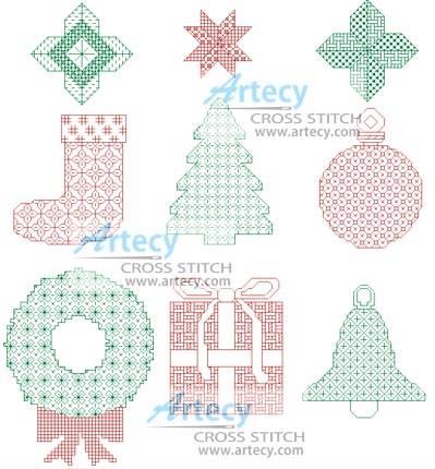 cross stitch pattern Blackwork Christmas Motifs