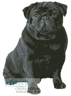 cross stitch pattern Black Pug