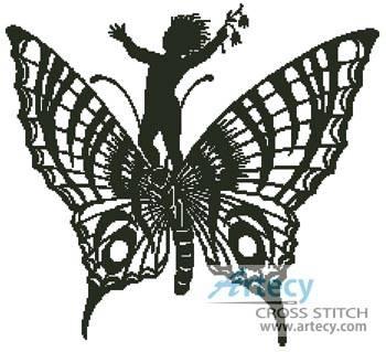 cross stitch pattern Boy Riding a Butterfly