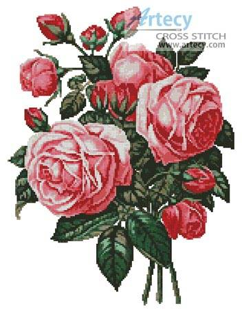 cross stitch pattern Bouquet of Pink Roses