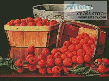 cross stitch pattern Basket of Raspberries