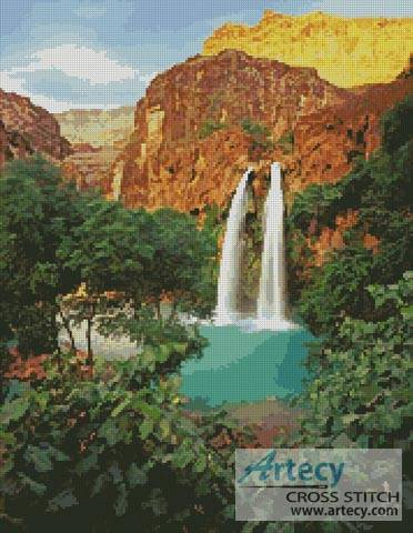 cross stitch pattern Canyon Waterfall
