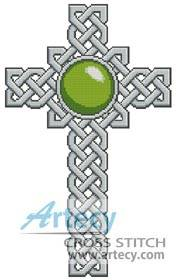 cross stitch pattern Celtic Cross August Peridot