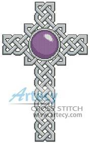 cross stitch pattern Celtic Cross February  Amethyst
