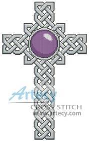 cross stitch pattern Celtic Cross February  Amethyst