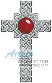 cross stitch pattern Celtic Cross January - Garnet