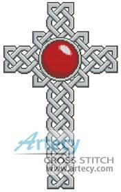 cross stitch pattern Celtic Cross July Ruby