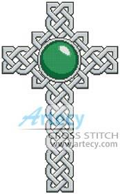 cross stitch pattern Celtic Cross May - Emerald