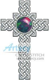 cross stitch pattern Celtic Cross October - Opal