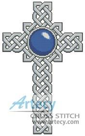 cross stitch pattern Celtic Cross September Sapphire