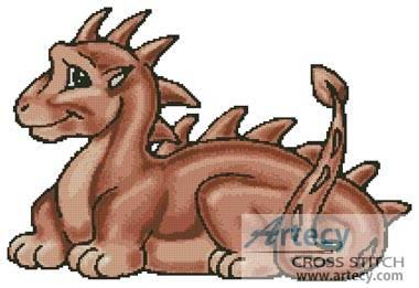 cross stitch pattern Cute Dragon (Terracotta)