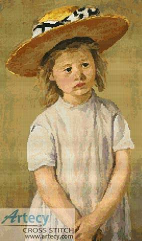 cross stitch pattern Child in a Straw Hat