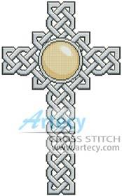 cross stitch pattern Celtic Cross June - Pearl