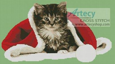 cross stitch pattern Christmas Kitten